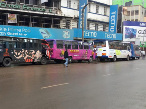 Some of the matatus along Moi Avenue on Tuesday morning. /MAUREEN KINYANJUI