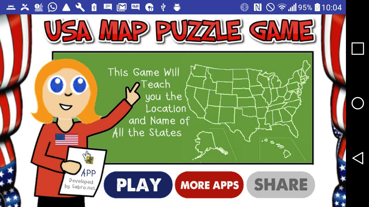 usa map 50 states puzzle game android apps on google play. Black Bedroom Furniture Sets. Home Design Ideas