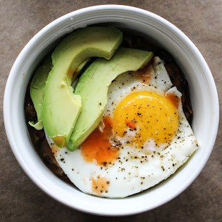 Refried Beans with Avocado & Fried Eggs.