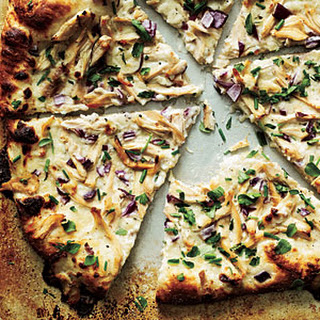 Chicken and Herb White Pizza.