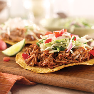 Pulled Pork Tostadas with Slaw and Chipotle Cream.
