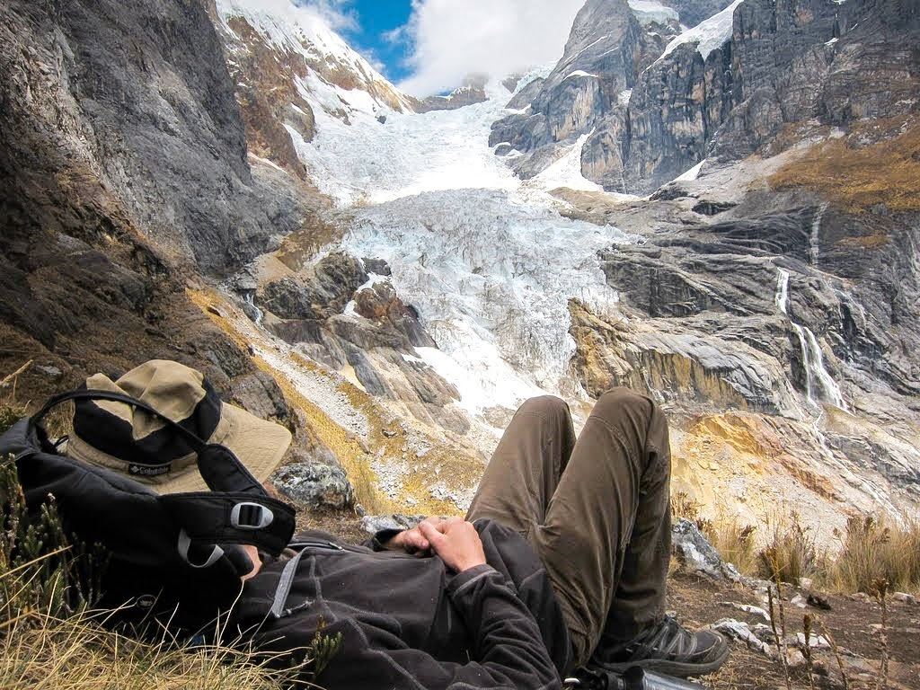 Taking a break in front of a hanging glacier