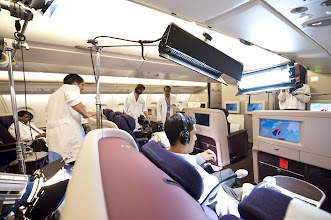 Photo: In Business Class, the crew are getting ready to capture what it's like to be onboard