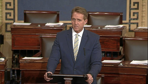 US Senator Jeff Flake criticises President Donald Trump in a speech from the Senate floor, in this still image taken from video, on Capitol Hill in Washington on January 17 2018. Picture: SENATE TV VIA REUTERS