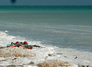 Photo: The shore of the Dead Sea is heavily encrusted with salt deposits.