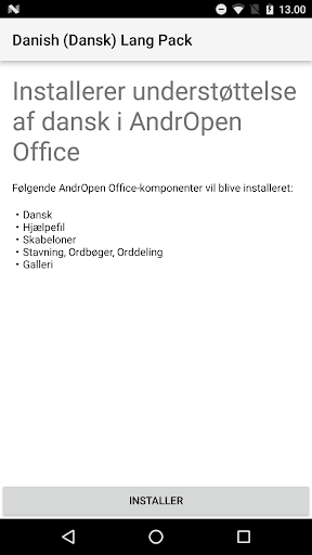 Danish (Dansk) Lang Pack for AndrOpen Office app (apk) free download for Android/PC/Windows screenshot