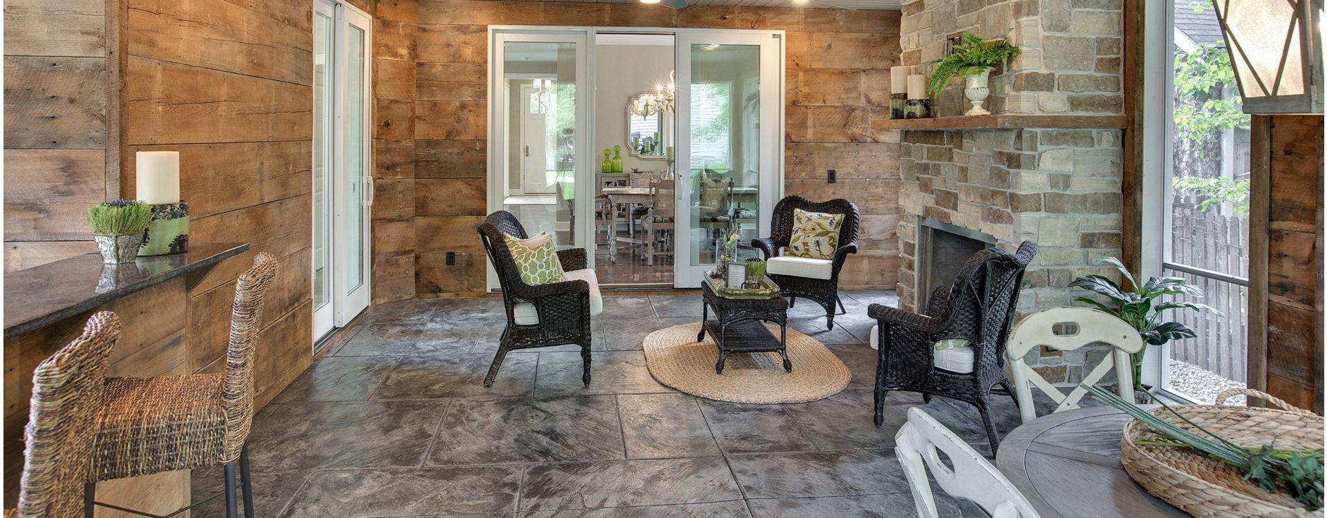 kết cấu và gỗ trông gạch ốp tường và gạch màu xám.