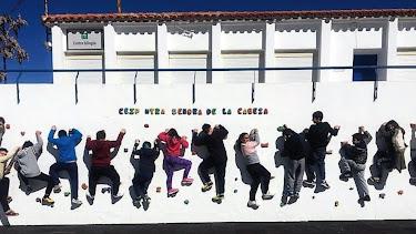 Alumnos del colegio disfrutando del nuevo rocódromo.