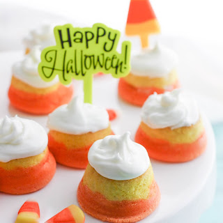 "Mini ""Candy Corn"" Cupcakes with Buttercream Frosting."