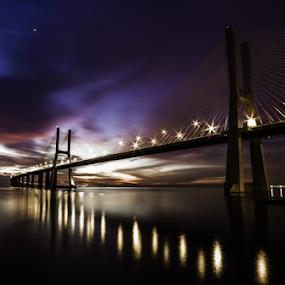 Rising  by Alexandre Mestre - Buildings & Architecture Bridges & Suspended Structures ( tejo, tagus, parque da nacoes, bridge, lisbon, sunrise, expo, lisboa, river,  )