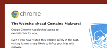Interstitial malware warning in the browser.