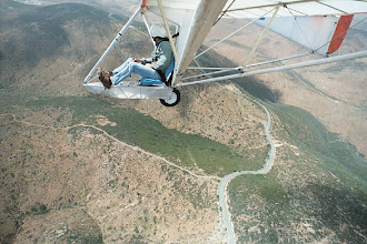 Photo: A self portrait by Floyd Fronius in the Goat1, this time over launch at Otay Mesa, San Diego, California, in May of 2004. In open air flight, the view is complete and when you are high you are really feeling it.