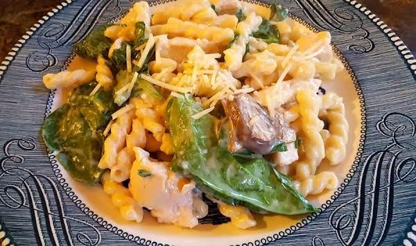 (reduced Fat) Chicken & Spinach Pasta In Alfredo Recipe