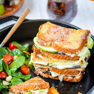 Apples and Brie Grilled Cheese Sandwich with Fig Spread.