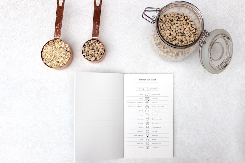 Easy to Use Portion Size Chart included in Food Journal