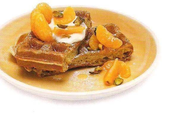 Orange Waffles With Clementines