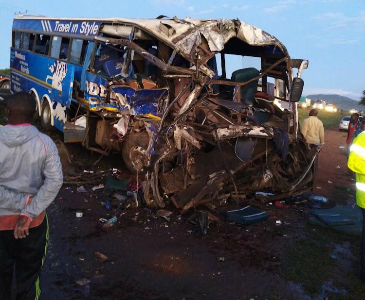 The scene of the accident involving two Modern Coast buses at Kiongwani area near Salama market along the Nairobi-Mombasa Highway on Thursday, December 12, 2019.