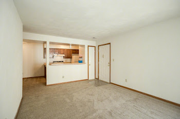 Living room with light brown carpet, white walls, and view of kitchen