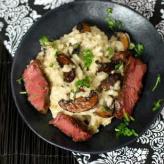 Rib Eye Steak and Mushroom Risotto.