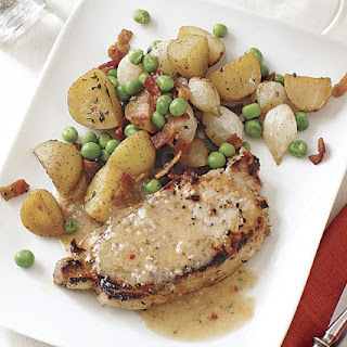 White Balsamic Pork Chops with Roasted Potatoes and Peas