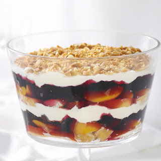 Peach and Cherry Jello Trifle.