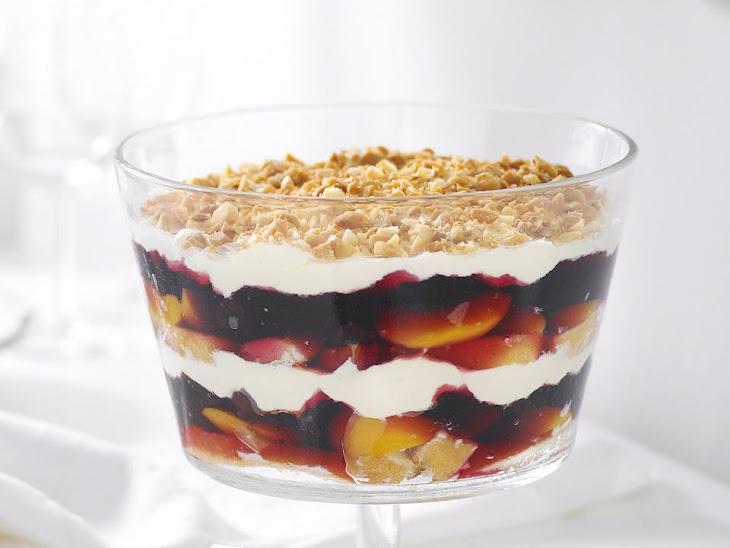 Peach and Cherry Jello Trifle