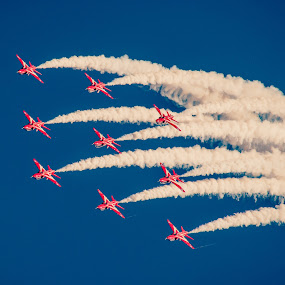 Red Arrows over Falmouth by Sarah Tregear - Transportation Airplanes ( red arrows, sky, red, plane, transport, airplane, falmouth, display, planes, cornwall,  )