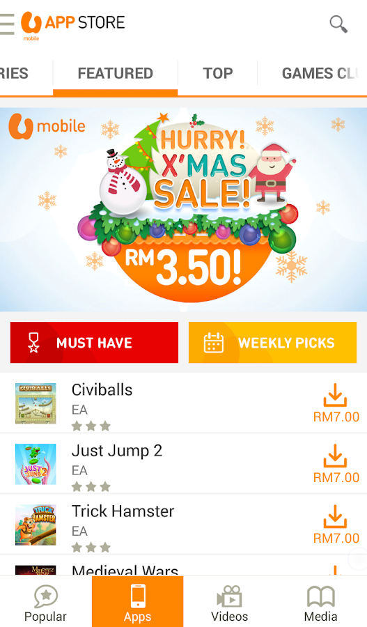 U Mobile App Store- screenshot