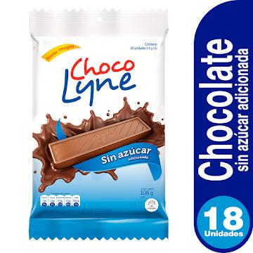 Chocolatina CHOCO LYNE   con Leche sin Azúcar Paquete x18Und. X432g.