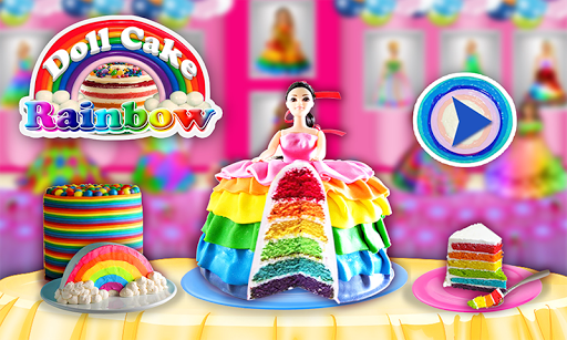 Rainbow Doll Cake bakery Game - DIY Cooking Kids
