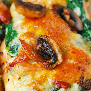 Smothered Chicken with Creamed Spinach, Bacon, Mushrooms.