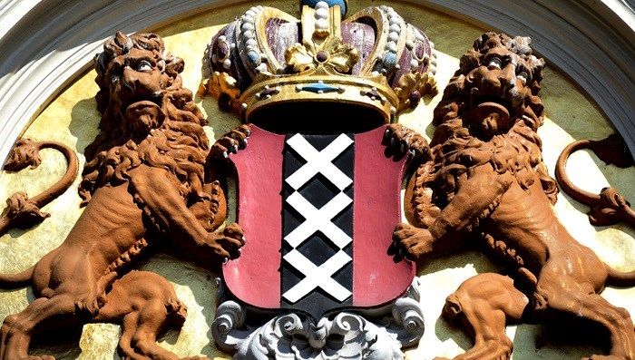 """XXX"" marks the Amsterdam coat of arms."