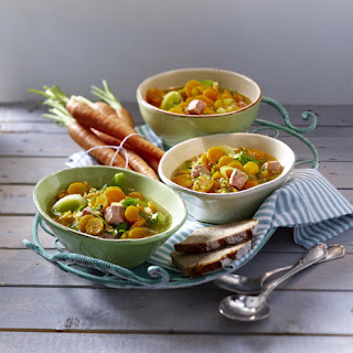 Carrot Soup with Smoked Ham.