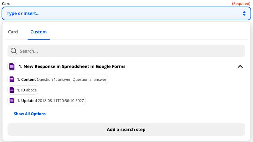 Tìm các tùy chọn hành động tìm kiếm trong phần Tìm kiếm