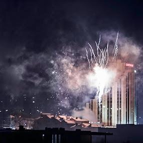 Danger in the sky by Kiril Krastev - Public Holidays New Year's Eve ( razgrad, new year, bomb, fireworks, hotel, dangerous, city )