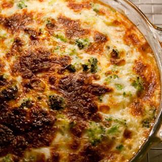 Broccoli, Leek, and Mozzarella Quiche.
