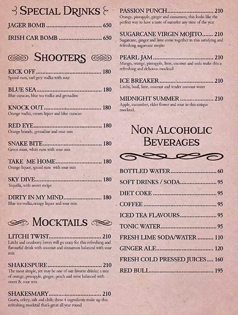 Shakesbierre menu 13