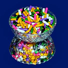 Crystal and Pastels Reflection #1 by Tony Huffaker - Artistic Objects Other Objects ( reflection, dish, candy, crystal, licorice, colors )