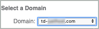 Under Select a Domain, the domain is selected in the Domain drop-down list.