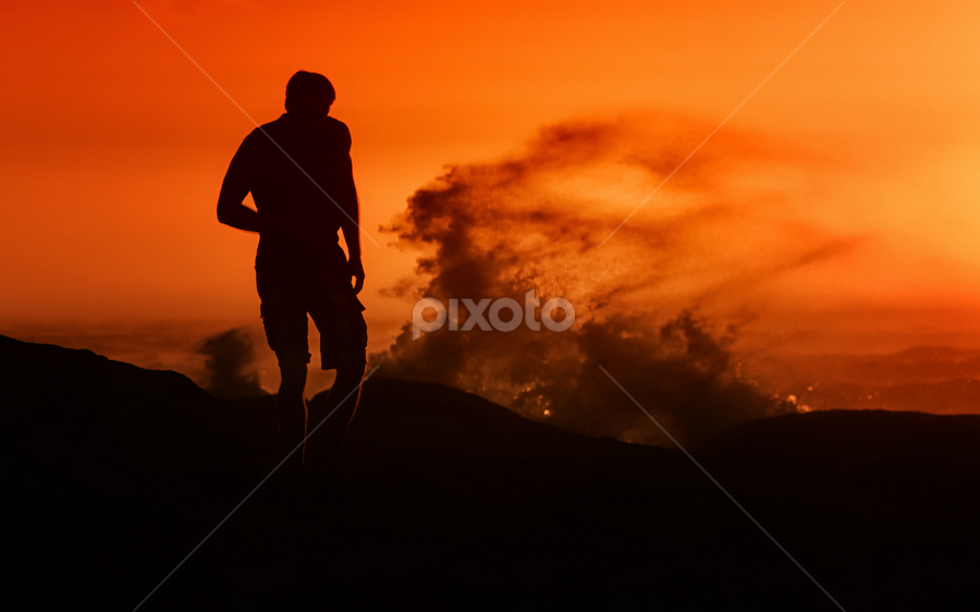 Sundown Beach by Dietmar Pohlmann - Landscapes Sunsets & Sunrises ( walking, red, sundown, beach, travel, africa, man )