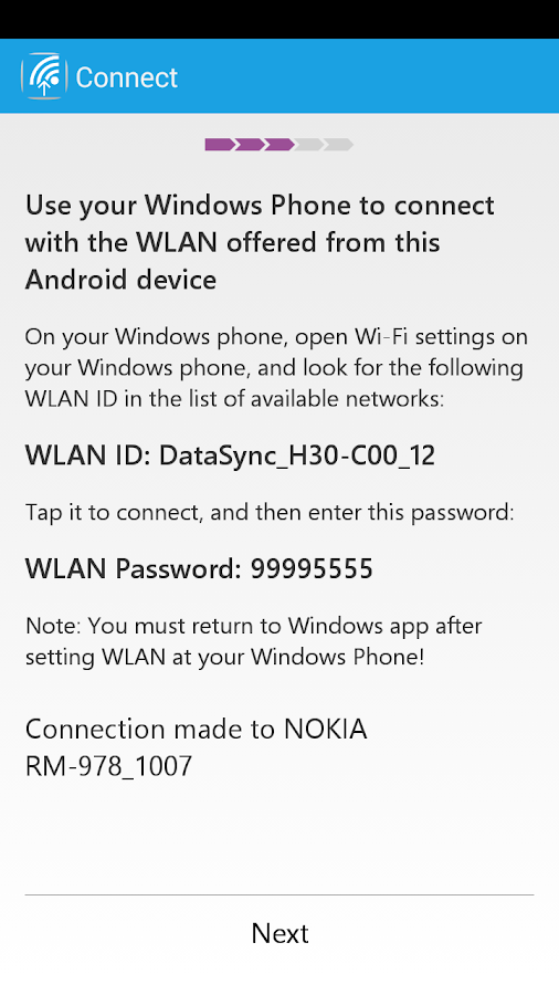 Switch to Windows Phone- screenshot