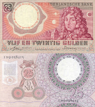 Photo: Christian Huygens, 25 Dutch Guilder (1955). This note is now obsolete.