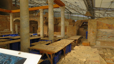 Photo: This is the museum inside which houses the remains of the private homes they have excavated. It's really cool. Both interesting, and actually shaded (unlike the rest of the site).
