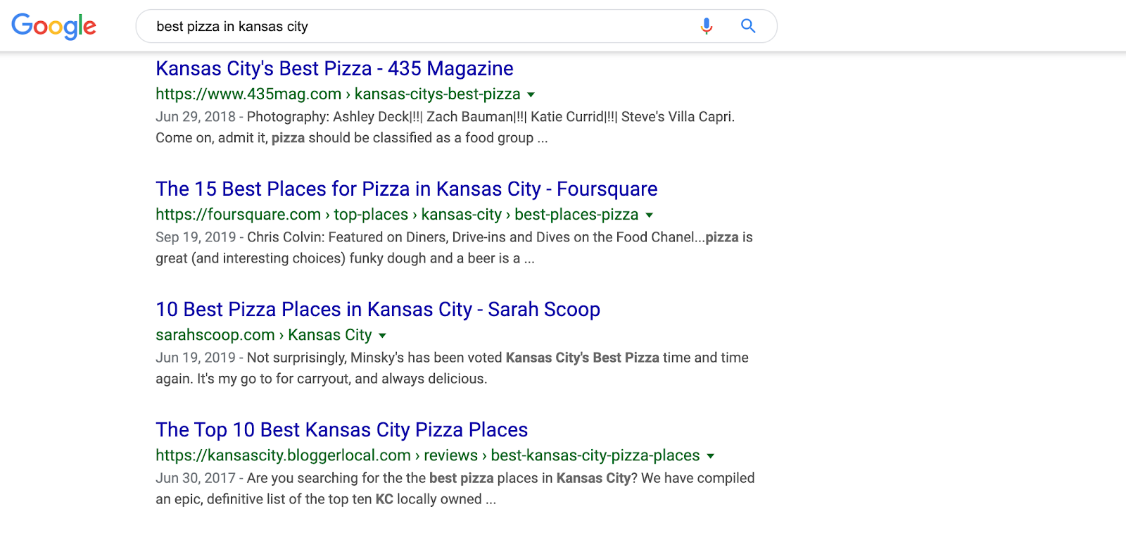 A screenshot of a Google search for the best pizza in Kansas City