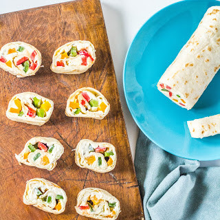 Rainbow Veggie Tortilla Pin Wheels.