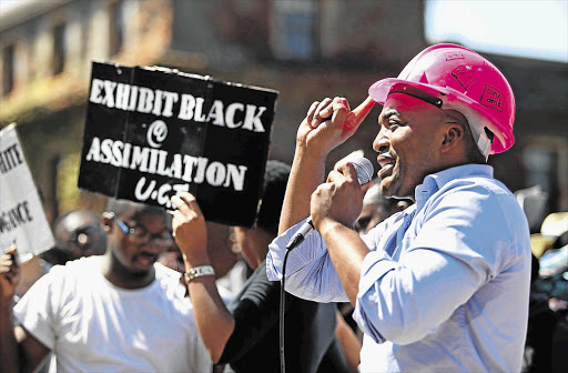 VARSITY BLUES: Chumani Maxwele calls for the removal of Cecil John Rhodes' statue at UCT