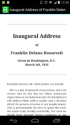 Inaugural Address of Roosevelt