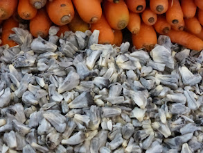 Photo: Carrots and huitlacoche, a type of corn fungus used in making quesadillas and other Mexican foods.