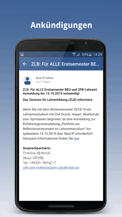 Stud.IP mobil – Screenshot