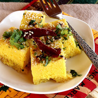 Khaman Dhokla -- Indian-Style Soft Steamed Chickpea Flour Cake.